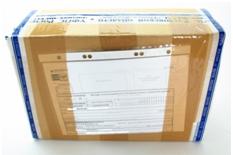 Вид коробки Почты России с обратной стороны